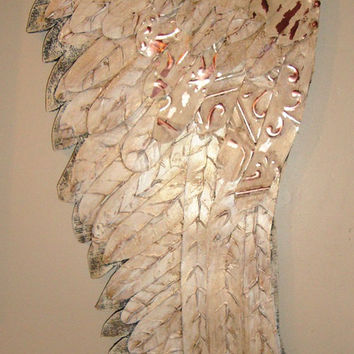 OOAK Large Angel Wings Antique Tin Tile Sculpture Shabby Decor French Nordic Chateau Chic Tuscan Choose Your Color