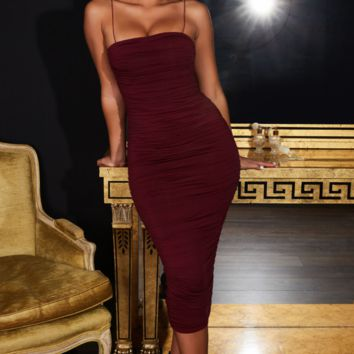 Women's long skirt sexy pleated strap dress red