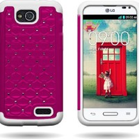 Wireless Central Hybrid Dual Layer Diamond Case for LG Optimus L90 D415 - Hard Rose Pink Plastic + Soft White Silicone