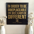 "Coco Chanel Quote - Wood Sign Decoration - ""In order to be irreplaceable, one must always be different"" - Girls Room Decor"