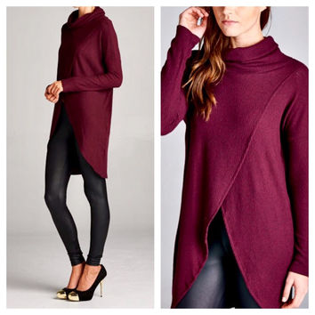 Burgundy Cowl Turtleneck Tunic Top