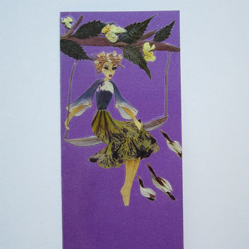 "Handmade unique greeting card ""How to overcome fear of heights"" - Decorated with dried pressed flowers and herbs - Original art collage."