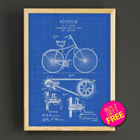 Vintage 1890 Bicycle Patent Print Bike Blueprint Poster House Wear Wall Art Decor Gift Linen Print - Buy 2 Get FREE - 291s2g