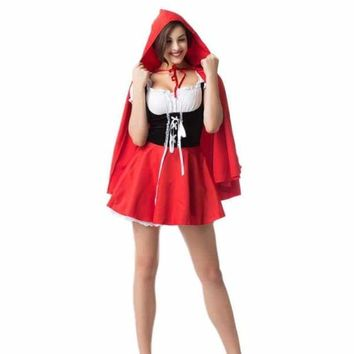 Women Sexy Lace Dress Large Size Halloween Maid Little Red Riding Hood Cosplay Princess Costume