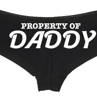 PROPERTY OF DADDY owned slave boy short panty Panties boyshort color choices sexy funny rude collar collared neko pet play Kitten cgl