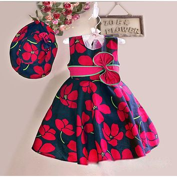 New Summer Baby Girls Floral Dress with cap European Style Designer Bow Children Dresses Kids Clothes 3-8Y