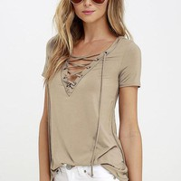 Sexy Women's V Neck Top Shirt Sleeve Bandage Shirts ( Khaki )S-5XL