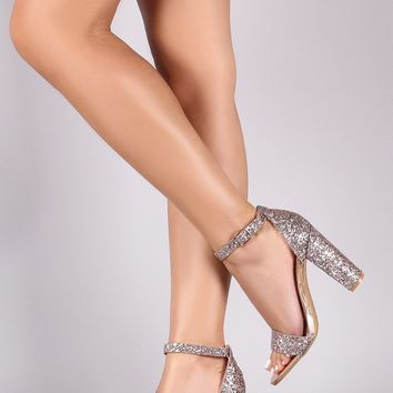 Bamboo Glitter Ankle Strap Single Sole Chunky Heels