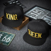 New Black King Queen Cap Men Embroidery Trucker Cap Lovers Baseball Cap Hip-Hop Summer Hats