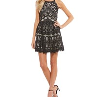 Dear Moon Two-Tone Lace Fit-And-Flare Dress | Dillards
