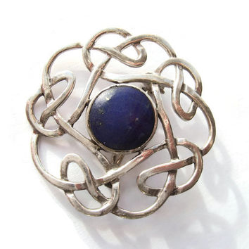 Vintage sterling silver and lapis lazuli Celtic brooch, openwork, Celtic knotwork, Scottish or Irish jewellery, traditional pin, #247.