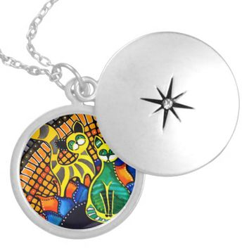 Cheer Up My Friend Colorful Rainbow Cat Design Silver Plated Necklace