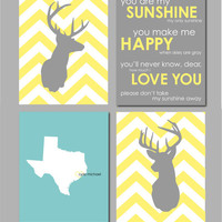 Modern Nursery Set - Deer Silhouettes, State Silhouette and You Are My Sunshine