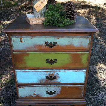 Upcycled - COLOR Kicker  - Vintage - Wooden Nighstand - End - Side Table - Drawers - Storage - Funky Farmhouse CHIC