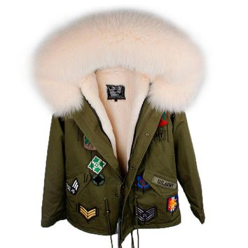 2018 Winter Womens Fashion Loose Faux Lining Fur Thick Warm Big Real Fox Fur Hooded Parkas Jackets Female Jeans Embroidery Coats