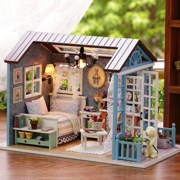 Christmas Gifts Miniature Doll House Model Building Kits casa de boneca Wooden Furniture Toys Birthday Gifts-Forest Times