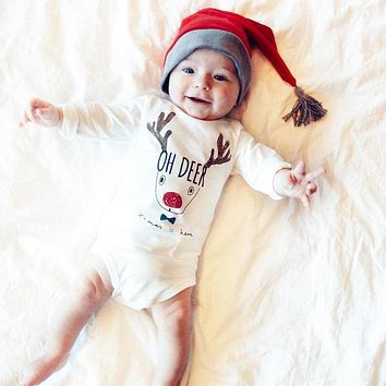 Casual Unisex Baby Girl Boy Christmas Romper Deer Jumpsuit Outfits Clothes 0-18M