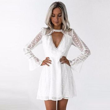 V-neck Lace Long Sleeve Bohemian Style Patchwork Dress