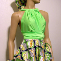 SALES 25% OFF Neon Green Set - African Print Infinity Convertible Wrap Peplum Top, Free Bandeau/Bra and a Pair of Bow-ties - Bridesmaids