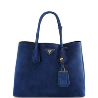 Suede Medium Double Bag, Navy - Prada