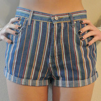 "High Waisted Shorts Size 4 / 5 Vintage Roxy Striped Multicolor Cuffed Shorts Milky Fr3sh ""Conductor"""