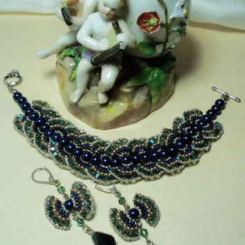 Beaded Original One of a Kind Collection: Swarovski Pearls Bracelet and Earrings. Luxury blue Small ribbons forms Bracelet and Earrings.