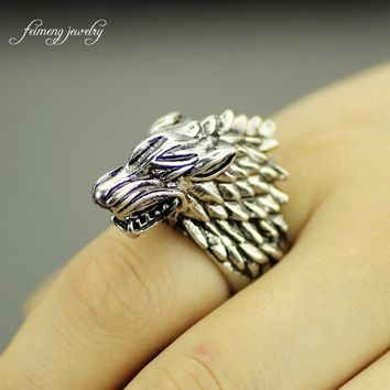 feimeng jewelry Game of Thrones The wolfhead gothic punk ring men's jewellery of cool accessories Size 8 to 9