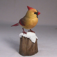 4-5/8 inch Cardinal (female) on Wooden Carved snow base