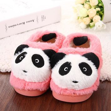 Winter Baby Girls Indoor Slippers Home Shoes Children Cute Panda Warm Boots Non-Slip Thick-Bottomed Kids Boys Cotton Slippers