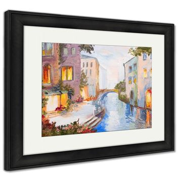 Framed Print, Oil Painting Canal In Venice Italy Modern Impressionism Colorful Art