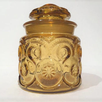 L E Smith Amber Glass Canister, Amber Moon and Stars Kitchen Canister