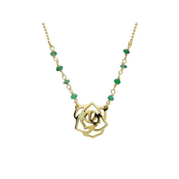 "Silver Gold Plated Rose Pendant Jade Beads  16""+ 2""Necklace"