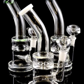 Small Stemless Glass on Glass Water Pipe with Whirlpool and Inline Percs - WP1409