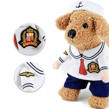 Uniform Dog Costume for Small Cat Sailor Police Solider Pet Cat Costumes clothes Dog Clothing Suit + Hat