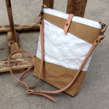 Kraft and Tyvek paper ipad mini bag with detachable shoulder strap