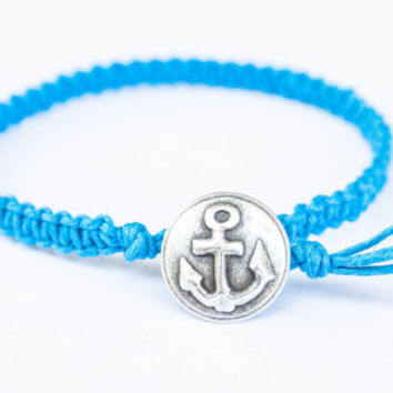Anchor Bracelet Button Friendship Girlfriend Gift Eco Friendly Hemp