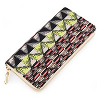 Neon Geometric Women's Zipper Wallet with Gold Accents