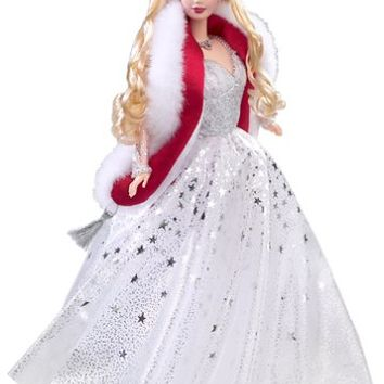 Mattel Year 2001 Barbie Exclusive Hallmark Special Edition 12 Inch Doll - Holiday Celebration 2001 Barbie Doll with Elegant Holiday Dress, Fur Stole, Tiara, Earrings, Necklace, Shoes and Doll Stand (Caucasian Version - 50304)