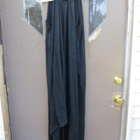 1970s original black nylon Grecian goddess sexy goth dress size  med