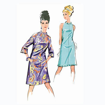 1960s A-Line DRESS w/ Raglan Sleeves or Sleeveless Standing Neckband Burda 7114 Vintage REISSUE Size 10-12-14-16-18 UNCUT Sewing Pattern