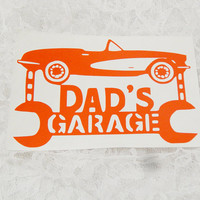 4x6 Inch Dad's Garage Convertible Wrench Hanging Sign, Mechanic Sticker Permanant Vinyl Decal