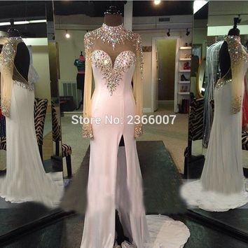 HS705 Vestido De Baile Sparkly Beaded Long Sleeve White Prom Dresses Open Back Formal Dress Sexy High Nick Side Slit Prom Dress