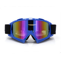 Adult Colourful double Lens Snow Ski Snowboard Goggles Motocross Anti-Fog Fashion Eye Protection Blue Colourful