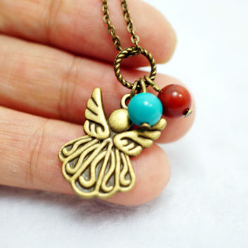 Children Necklace - Children Jewelry -  Angel Necklace - Bronze Butterfly Necklace - Gift For Daughter  Tiny Angel Bronze Necklace