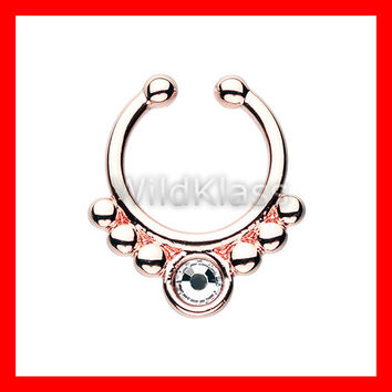 Rose Gold Fake Septum Ring Horseshoe Gem Grandiose Clip-On Cartilage Earrings Nipple Ring Circular Barbell Tragus Jewelry Helix Conch