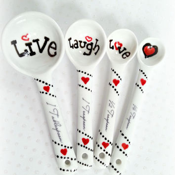 Love Measuring Spoons, Heart Measuring Spoons, Live, Laugh, Love Gift, Shower Gift, Bridesmaid Gift, Porcelain Spoons, Kitchen Gift