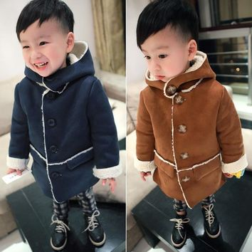 New 2016 winter boys girls jacket baby coats Suede fashion kids jacket Warm Lambs wool Casuals children's jackets kids outerwear