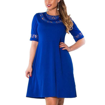 WJ 2017 Lace Dress Half Sleeve Large Size Women Clothing Summer Style Sexy Bodycon Beach Party Dresses Plus Size 6XL