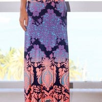 Peach Printed Maxi Skirt