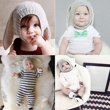 Baby Hats Rabbit Ears Knitted Kids Caps 2018 Autumn Winter Baby Girls Hats Lovely Infant Toddlers Beanies for Baby Photo Props